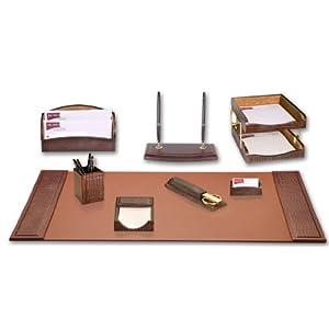 Dacasso Schreibtisch-Set, braun Krokodil geprägt, 10-TLG.