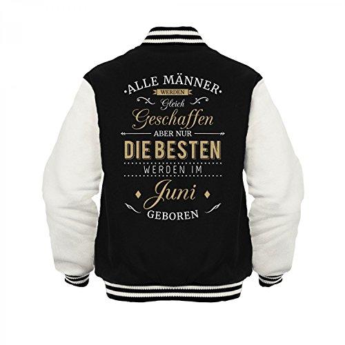 Fashionalarm Herren College Jacke - Nur die besten Männer werden im Juni geboren | Varsity Baseball Jacket | Sweatjacke als Geburtstag Geschenk Idee Schwarz / Weiß