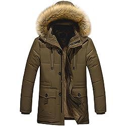 Glestore Homme Parka Doudoune Manteaux Hiver Chaud épais Veste Capuche en Fourrure Amovible Blousons Couleur Loisir Marron XL