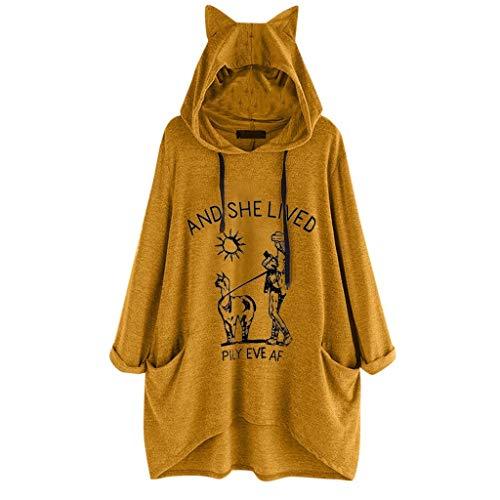 Luckycat Camiseta Mujer Verano Moda Oreja Gato Impresión