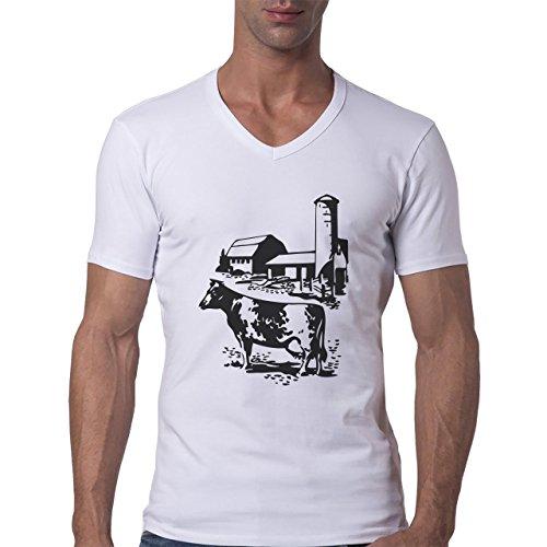 Bull Cow Animals Farm Picture Calm Herren V-Neck T-Shirt Weiß