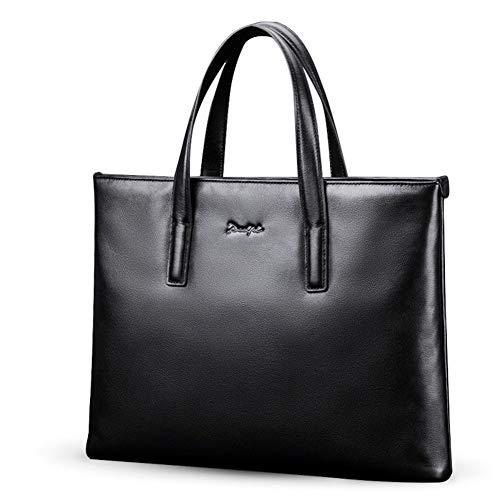 Herren Echtleder Messenger Aktentaschen Business Laptop Schulter Handtaschen Fit in 16,5 Zoll,Black-OneSize - Zwickel-aktentasche Aus Leder