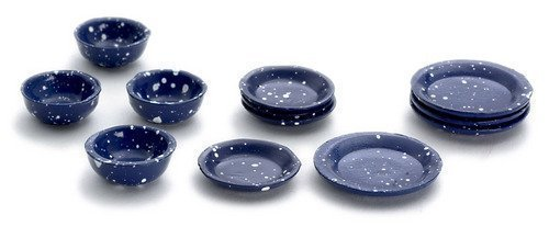 Dollhouse Miniature 1:12 Scale 12 Pc Blue Spatter Dishes SET #D2762 by Town Square Miniatures Blue Square Dish