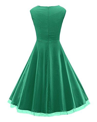 Damen Ärmellos Abendkleider Kleid Elegant Festliche Kleider Ballkleid cocktailkleid Retro Rockabilly Swing Kleider Grün