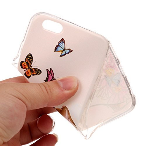 iPhone 6 Hülle, iPhone 6S Hülle Transparent, iPhone 6 6S Hülle TPU Case Schutzhülle Silikon Case, Cozy Hut ®[Liquid Crystal] 3D Romantik Flower Animal Cartoon Series Transparent Weiche Silikon Malerei Schmetterlings-Katze