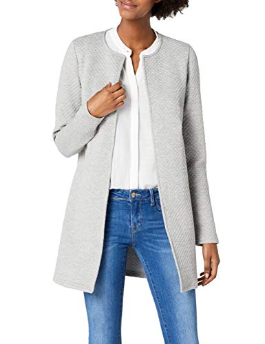 Vila Clothes Damen VINAJA New Long JKT Blazer, Grau (Light Grey Melange), 36 (Herstellergröße: S)