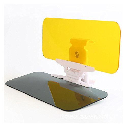 Auto Sonnenblende Extender, AOLVO Blendschutz HD Nacht fahren Visier Brillen, multifunktional 2in 1Verstellbare Automarke Sun Vision Visier Clip Spiegel für Tag und Nacht Sicherheit Fahren–Gelb + Grau (Auto Sonnenblende-ersatz)