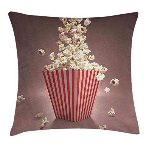 DHNKW Retro Throw Pillow Cushion Cover, Retro Style Popcorn Art Image Cinema Movie Theater Theme in Classical Display, Decorative Square Accent Pillow Case, 20 X 20 inches, Pale Red White