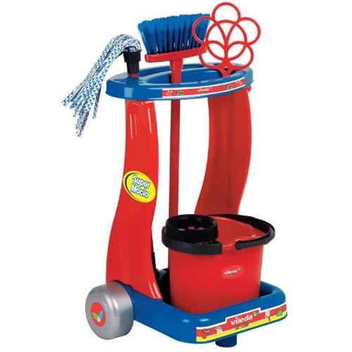 Bakaji Toys Carrello Pulizie Vileda con Mocio Vileda Scopa E Secchio Giocattolo per Bambini Attrezzi per Lavora da Bambini Gioco Imitazione