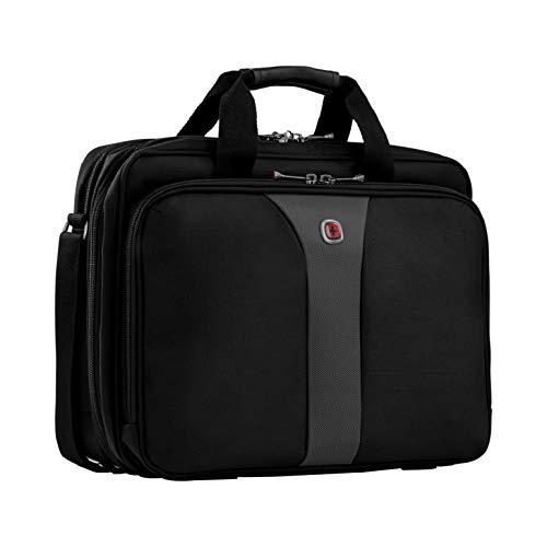 """Wenger 600648 Legacy 16 """"Doppel-Zwickel-Laptop-Tasche, Flughafen freundlich mit gepolsterten Dreifach Schutz Fach in schwarz / grau {15 Liter}"""