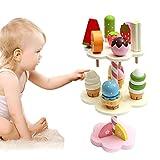 H-Sunshy - Eiscreme-Spielzeug Pretend Play Set - DREI-Schicht-Kuchen-Eiscreme - Hölzerne Simulation Spielhaus-Eiscreme-Spielzeug - Eiscreme-Erdbeer-Küche Spielzeug.