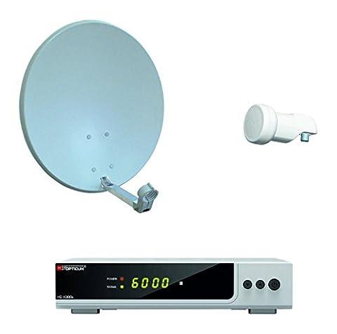 Opticum HD AX 300 Digitale 1 Teilnehmer Satelliten-Komplettanlage mit HDTV-Receiver (Single-LNB, 60 cm Antenne) grau/silber (TÜV zertifiziert)