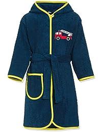 Playshoes Kinder Frottee-Bademantel Feuerwehr mit Kapuze, flauschig warmer Morgenmantel für Jungen und Mädchen