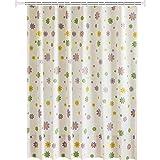 Knbob Duschvorhang Antibakteriell Blume Mehrfarbig Shower Curtain 150X200CM mit Haken Badezimmer Vorhänge