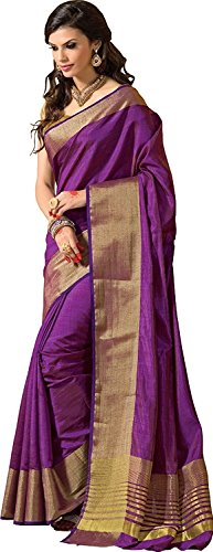 Indian Beauty Cotton Silk Saree (TESSER-HIT-PURPLE_Purple_Free Size)