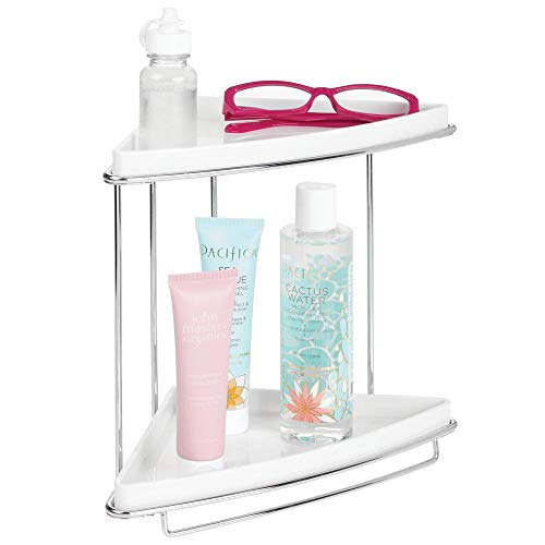 Mdesign mensola angolare doccia - portaoggetti doccia o bagno su 2 livelli per shampoo, bagnoschiuma, asciugamani ecc. - scaffale per doccia in metallo inossidabile e plastica - argento/bianco