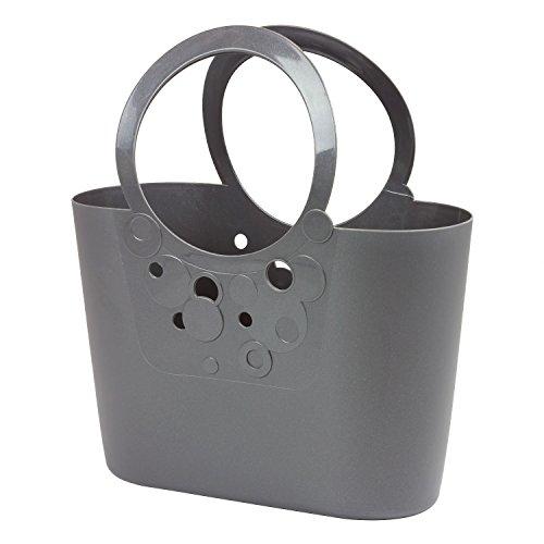 Große XXL Size moderne Handtasche 21 L Picknickkorb graphit Griffe Lily Strandtasche Tasche Basket