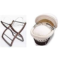 Izziwotnot Premium Gift Cream on Dark Wicker Moses Basket and Mahogany Rocking Moses Basket Stand