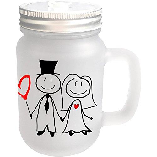 it Deckel und Strohhalm mit Motiv MR. & MRS. Hochzeit und Wunschname ❤︎ personalisiert ❤︎ Trinkglas - 400 ml ()