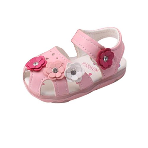 FNKDOR Baby Mädchen Beleuchtete Sandalen Blumen Babyschuhe LED Licht Schuhe Leuchtschuhe(Rosa,Fußlänge bis 12.5 ()