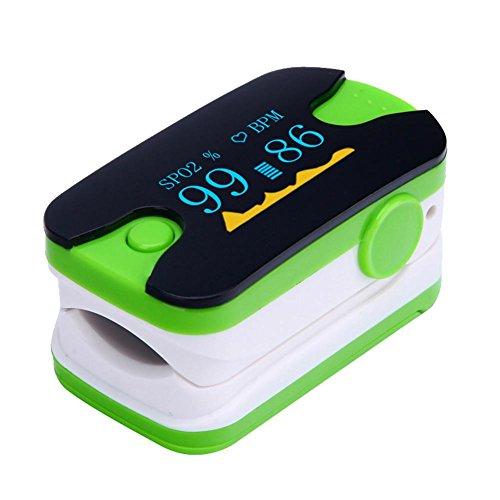 LED-Finger-Clip Sauerstoff Meter Finger Puls Sauerstoff Sättigung Monitor Monitor Monitor Herzfrequenzmesser für Haus Gesundheitswesen (Multi-Color optional) , green