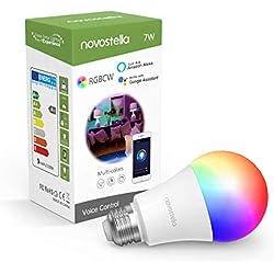 Novostella Ampoule Connectée Alexa, E27 LED, RGBCW 2700K-6500K Dimmable, Compatible avec Google Home IFTTT, Lampe d'ambiance Intelligente WiFi Couleur, 7W Équivalent 60W