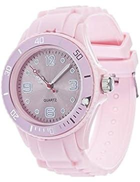 Unisex Bunt Silikon Uhr watch Armbanduhr Damenuhr Herrenuhr Uhr Jenny Trend Rosa