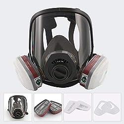 Hamkaw Masque intégral pour Le Visage, Peinture au gaz, Masque Chimique, antipoussière, pesticides, Double Filtre à air, Protection des Yeux, Protection respiratoire, respirateur de Vapeur Biologique