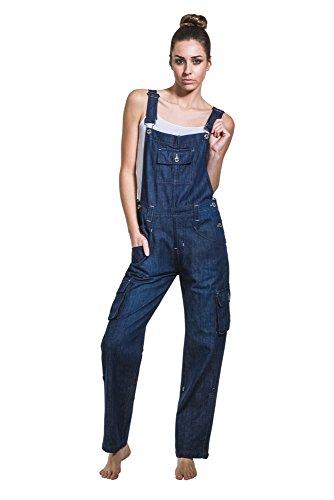USKEES DAISY Damen-Latzhose - Indigo Verstellbare Beinlänge Mode Latzhose denim DAISYINDIGO-18