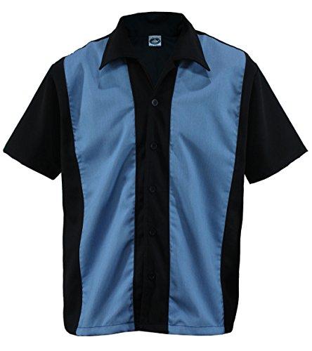 Aloha-Beachwear Herren Bowling Shirt Worker Hemd Rockabilly Two Tone Gabardine Lounge Fifties Vintage Retro Double Panel, D600 (XXL/XX-Large, Schwarz/Blau)