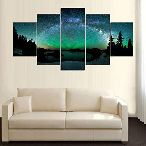 ucke Northern Light Star Nacht Landschaft Leinwand Wandkunst Tapeten Gemälde Poster Wohnzimmer Wohnkultur-40X60/80/100Cm,With Frame ()