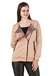 Texco full sleeve beige color winter jacket with black leather lapel collar