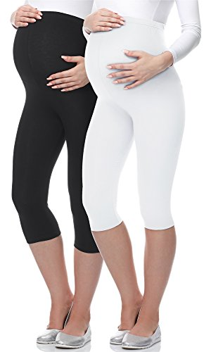 Be Mammy 3/4 Umstandsleggings BE-03 2er Pack (Schwarz/Weiß, S)