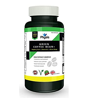 Physis Green Coffee Bean Complex | Perfect Combination Of Natural Ingredients To Promote Weight Loss Support | Containing Raspberry Fruit Extract, African Mango Extract And Cayenne Pepper | Boost Metabolism | Powerful Antioxidant | Increase Energy | Reduc