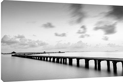 MOOL Hundebett, rechteckig, 32 x 22 cm großes Brücke Beach Scene, auf Holzrahmen gespannt wasserfester Giclée-Überzug, fertig zum Aufhängen, Leinwandbild, Kunstdruck, Schwarz/Weiß (Holzrahmen Hundebett)