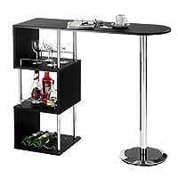 LA TABLE HAUTE DE BAR VIGANDO... avec son design en forme de S apportera de l'originalité à votre séjour ou votre cuisine. Les 3 étagères de côté vous permettront de bénéficier d'un espace de stockage supplémentaire, et les rebords en métal empèchero...