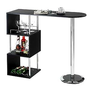 idimex bartisch stehtisch bartresen vigando schwarz mit stauraum und flaschenhalterung. Black Bedroom Furniture Sets. Home Design Ideas