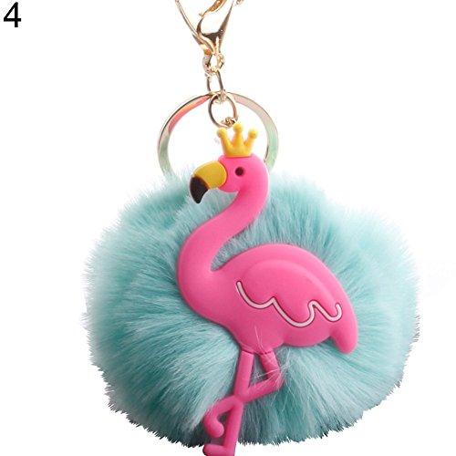 Eingerieben Bronze-insel-licht (Finanzen Plan Lovely Krone Flamingo flauschig Pompon Schlüssel Ring Halter Schlüsselanhänger Auto Tasche Ornament mintgrün)