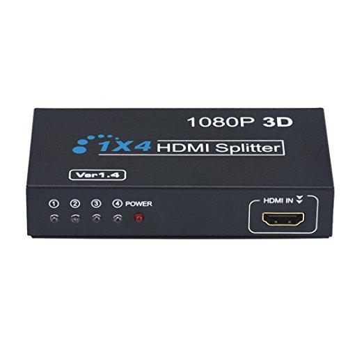 HDMI Splitter, interruptor Lanowo Mini Digital 1X4 HDMI para HD 1080P de la ayuda 3D con adaptador de energía de 5V Apoyo DTS Digital, Dolby Digital, DTS-HD y Dolby True HD