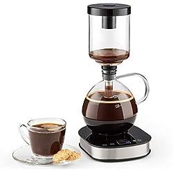 Klarstein Drop Siphon Coffee maker - Cafetière filtre, Écran LCD, Verre thermique, Café gourmet, clair et corsé, Pas d'extraction excessive, Mode manuel et automatique, 500W