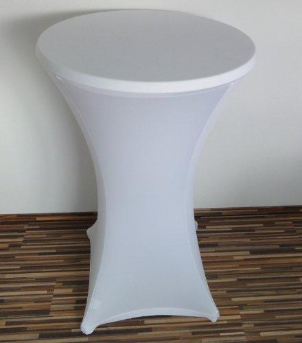 Stehtisch Husse Stretch Stehtischhusse 70 - 75 cm weiß Stretchhusse dehnbar elastisch