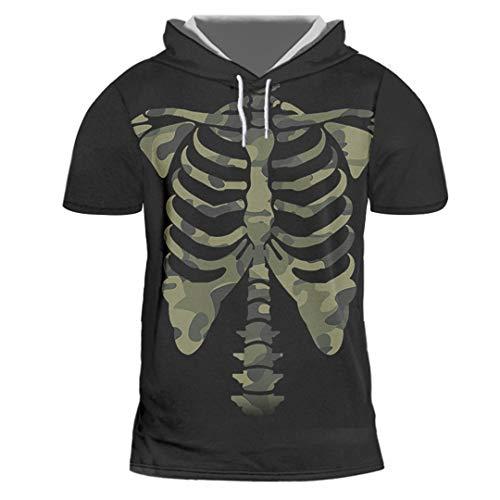Kreatives interessantes schwarzes 3D gedrucktes mit Kapuze T-Shirt-Tarnungs-Skelett-T-Shirt Camouflage Skeleton XXL