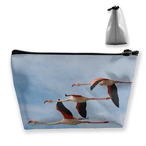 Fliegende Flamingos Fondo De Pantalla HD Make-up Tasche Große Trapez Lagerung Reisetasche Tragbare Waschen Kosmetiktasche Bleistifthalter Reißverschluss
