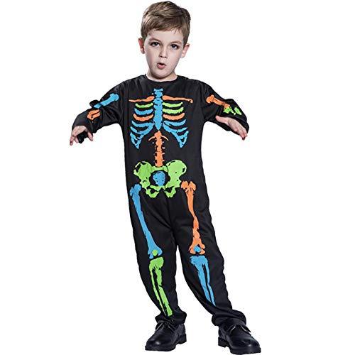 SHANGLY Halloween Kind-Skelett Kostüm Cosplay Jungs Farbe Knochen Kostüm Weihnachten Karneval Schickes Kleid Kostüm,M