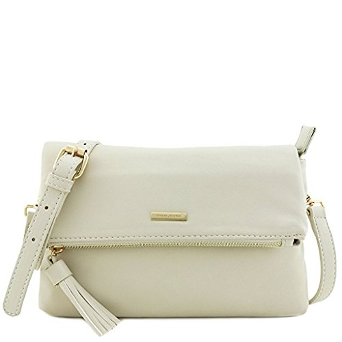David Jones - Damen Umhängetasche with front zip pocket flap and Pompom - Smooth synthetic Leather - Beige (Flap Front Clutch)