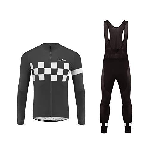 Uglyfrog Radtrikot Fahrradbekleidung Set Langarm Winddicht Herren Thermische Fleece mit 3D Polster Hosen
