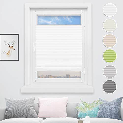 HOMEDEMO Plisseerollo ohne Bohren 50x130 cm Jalousie für Fenster und Tür Sichtschutz und Sonnenschutz Raffrollo für Kinderzimmer Weiss