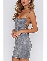 67829e41d Amazon.es  Vestido Plateado Corto - Vestidos   Mujer  Ropa