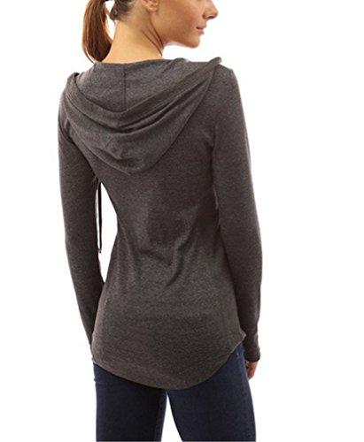 Felpa Donna T-Shirt Con Cappuccio Eleganti Manica Lunga Autunno Invernali V Scollo Slinky Camicetta Hoody Casual Tops Hoodie Pullover Magliette Bluse Puro Colore Grigio scuro