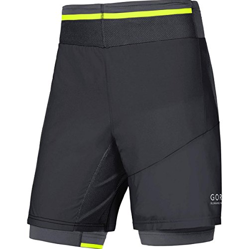 GORE RUNNING WEAR Herren 2 in 1 Laufshorts und Tights, GORE Selected Fabrics, FUSION 2in1 Shorts, Größe XL, Schwarz, TSTULT (Herren Running Shorts Tight)